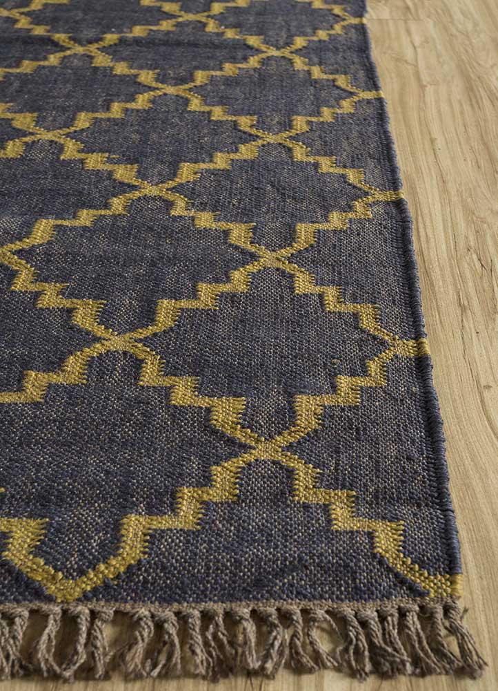 indusbar blue jute and hemp jute rugs Rug - Corner