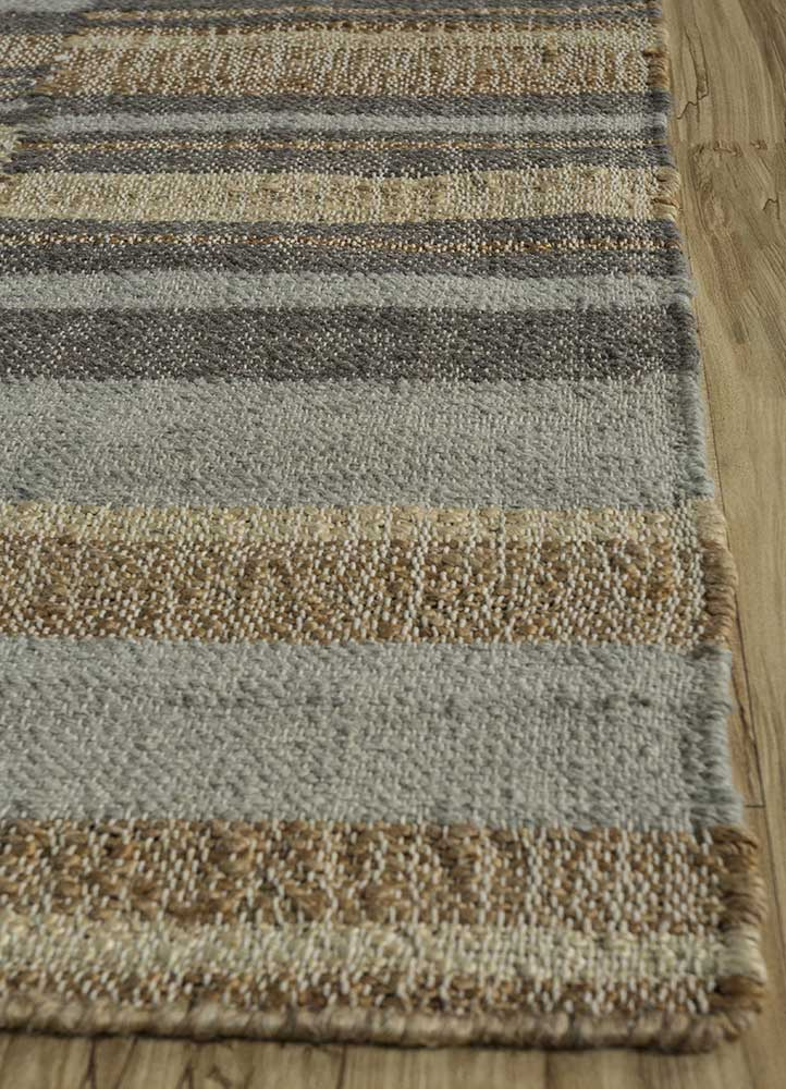 spatial beige and brown jute and hemp flat weaves Rug - Corner