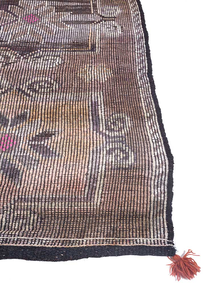 kilim beige and brown wool hand knotted Rug - Corner