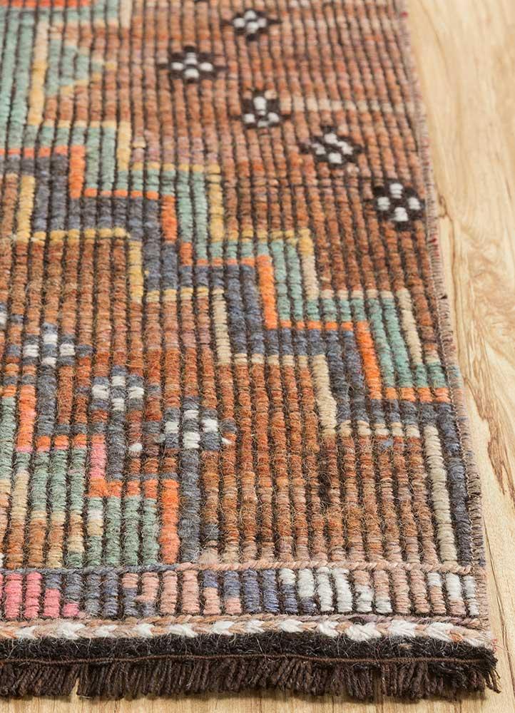 kilim red and orange wool hand knotted Rug - Corner
