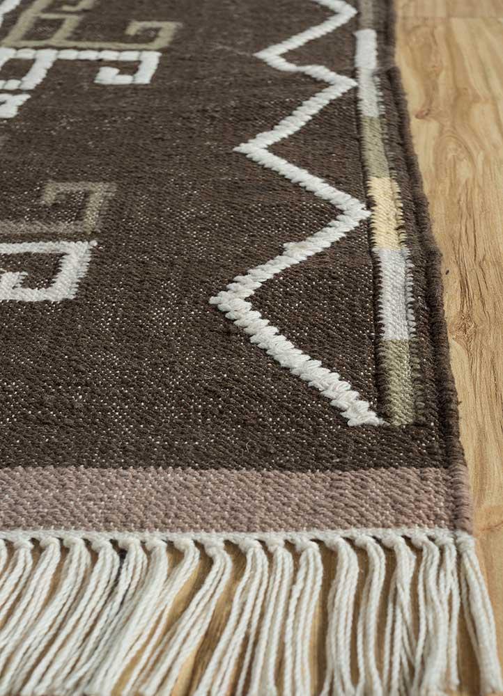 indusbar beige and brown wool flat weaves Rug - Corner