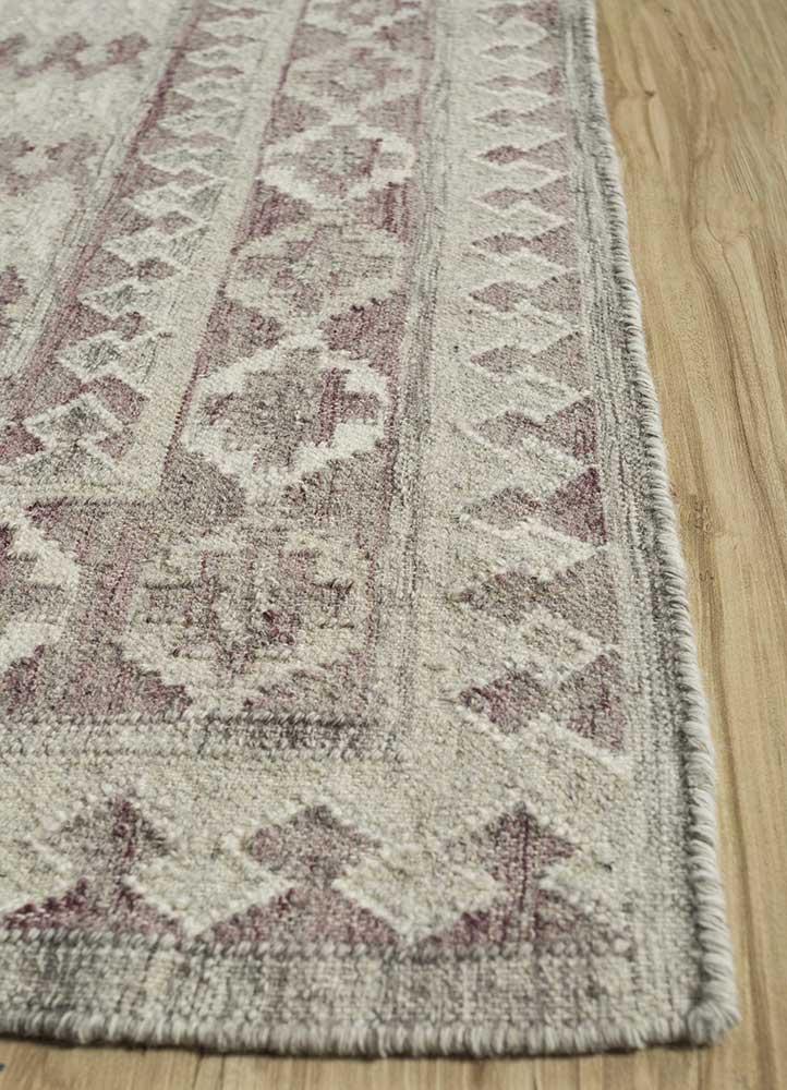 bedouin ivory wool flat weaves Rug - Corner