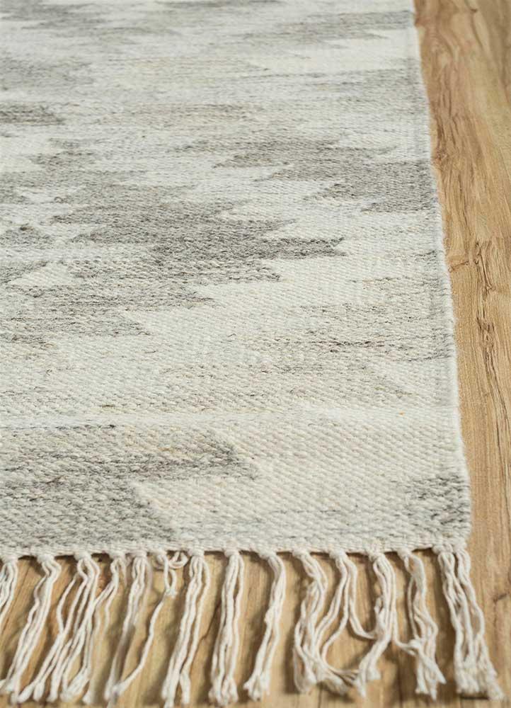 bedouin beige and brown wool flat weaves Rug - Corner