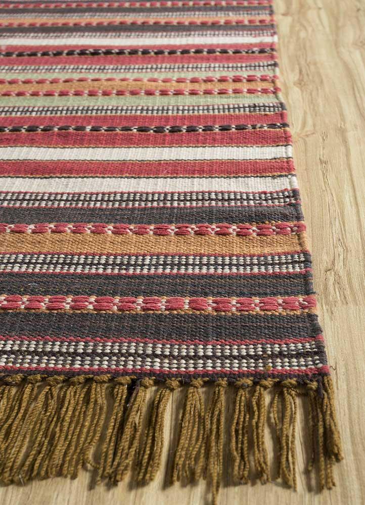 aqua ivory wool flat weaves Rug - Corner