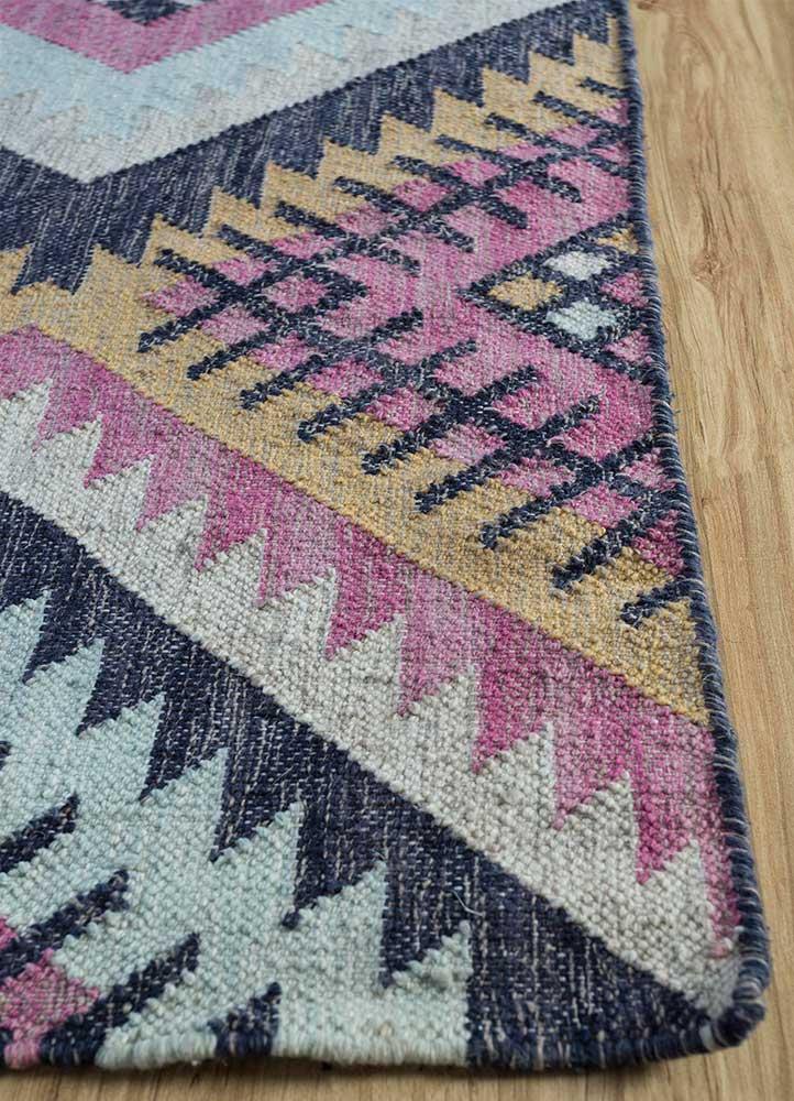bedouin pink and purple wool flat weaves Rug - Corner