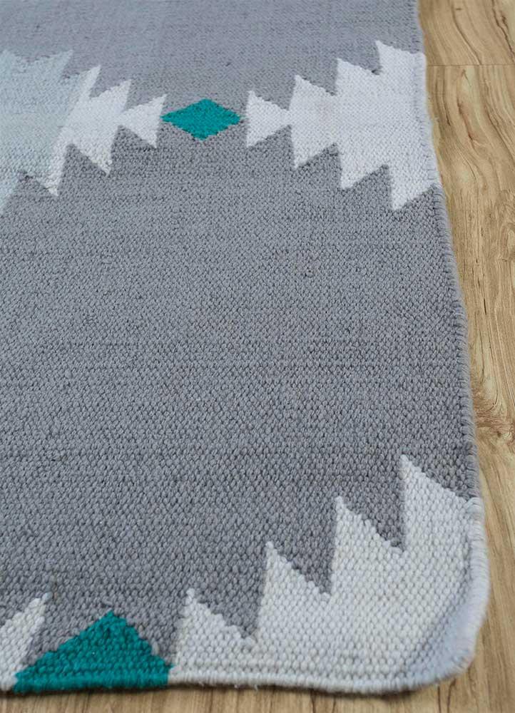 bedouin blue wool flat weaves Rug - Corner