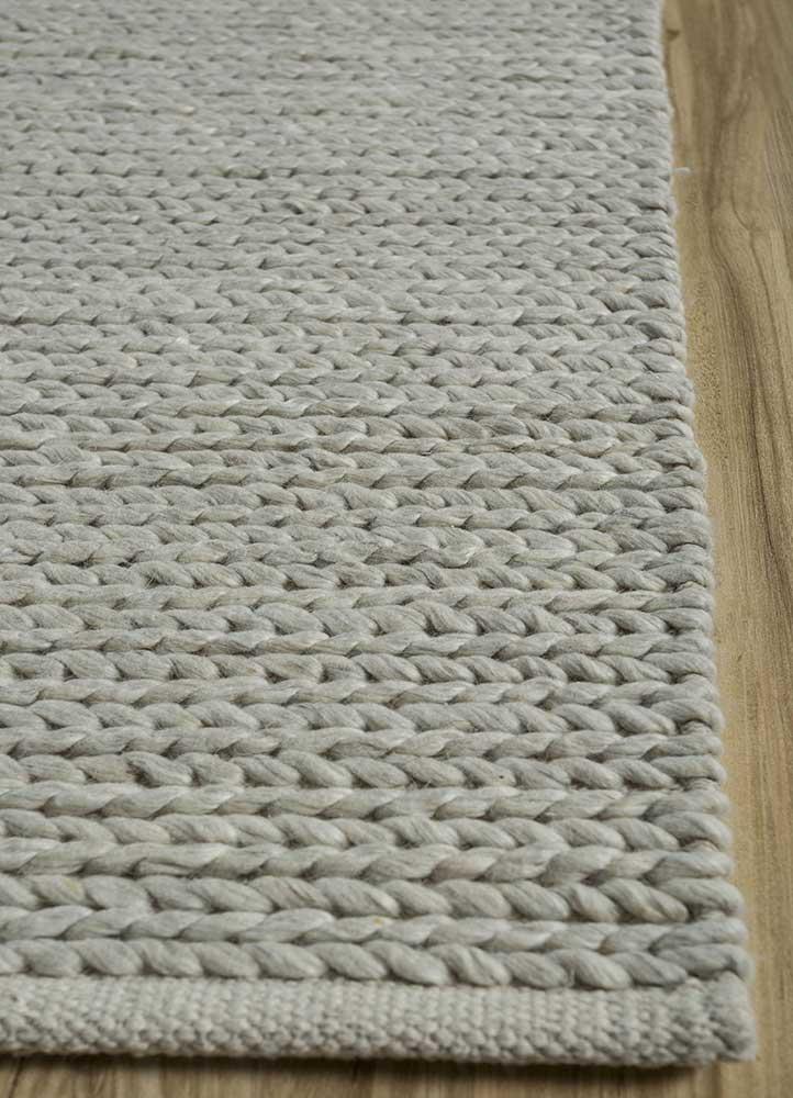 abrash grey and black wool flat weaves Rug - Corner