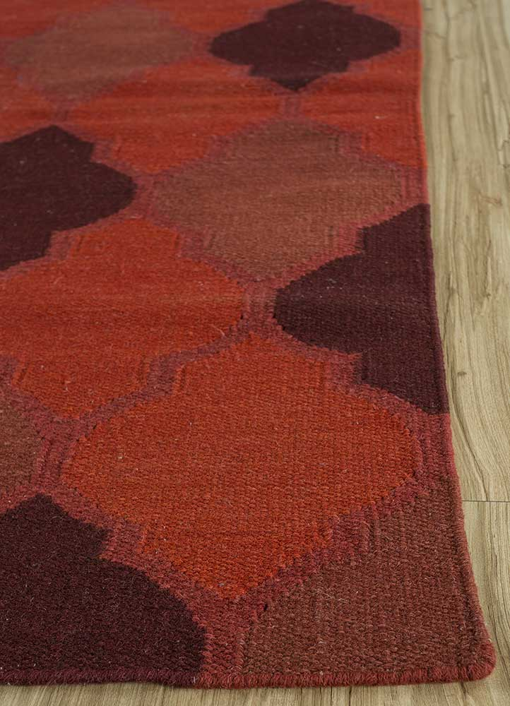 indusbar red and orange wool flat weaves Rug - Corner