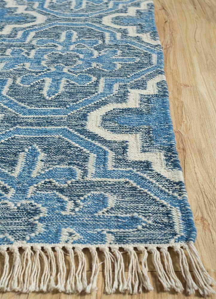 heritage blue wool flat weaves Rug - Corner