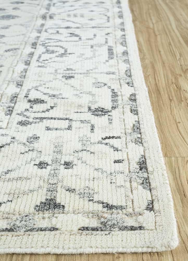 heritage ivory wool flat weaves Rug - Corner