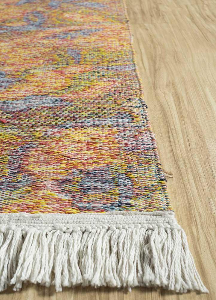 heritage red and orange wool flat weaves Rug - Corner