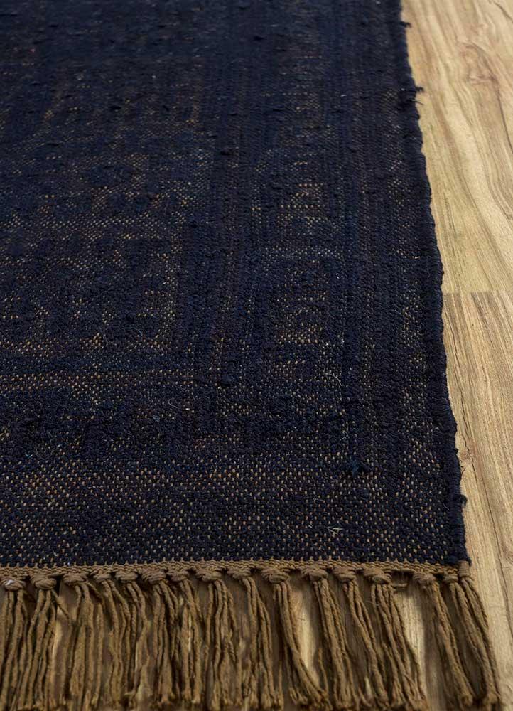 abrash blue wool flat weaves Rug - Corner