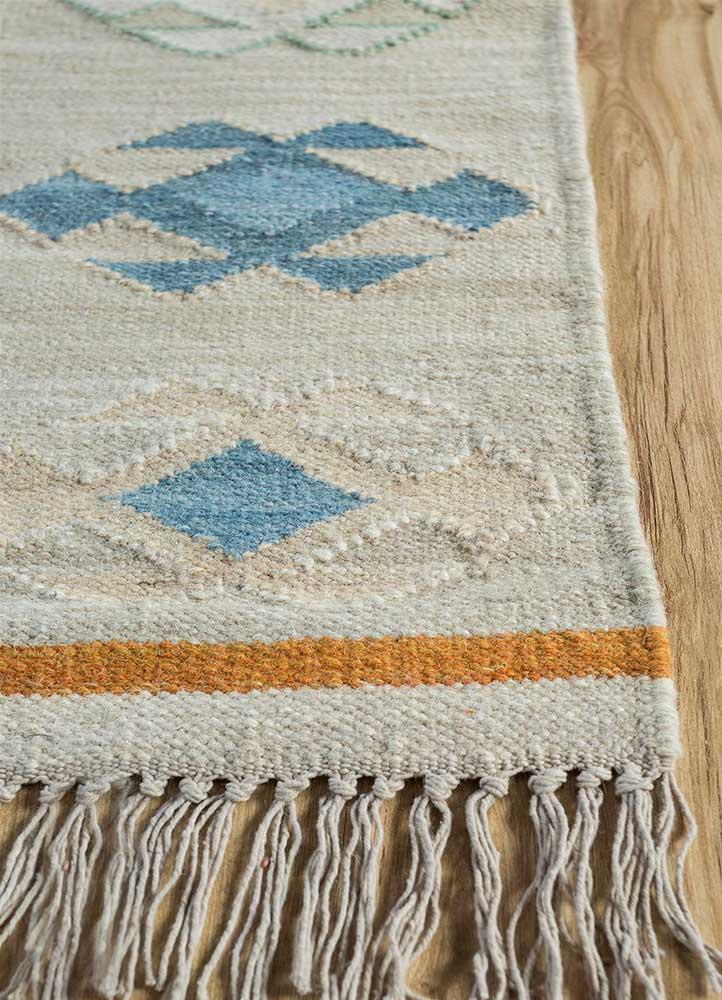 bedouin gold wool flat weaves Rug - Corner