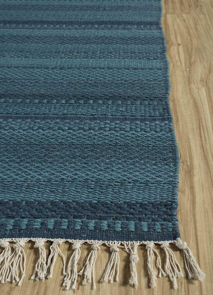 aqua green wool flat weaves Rug - Corner