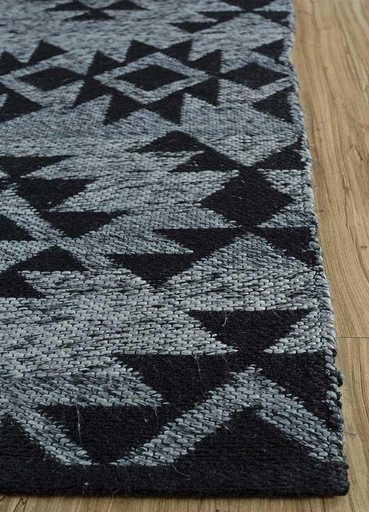 bedouin grey and black wool flat weaves Rug - Corner