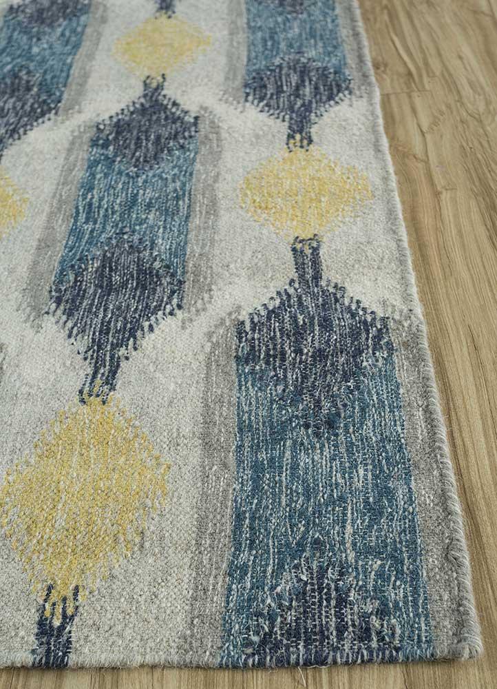 anatolia green wool flat weaves Rug - Corner