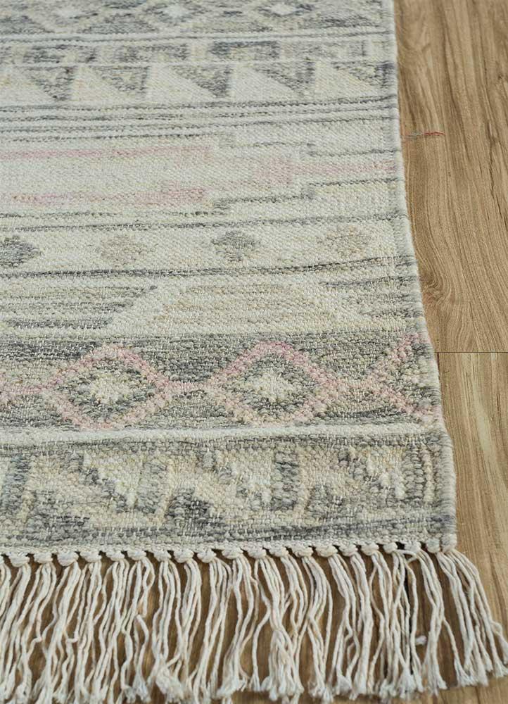 souk beige and brown wool flat weaves Rug - Corner