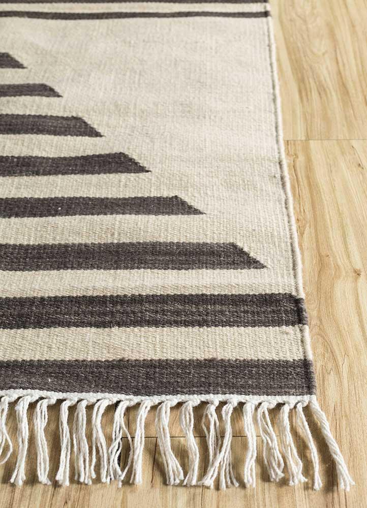 aqua beige and brown wool flat weaves Rug - Corner