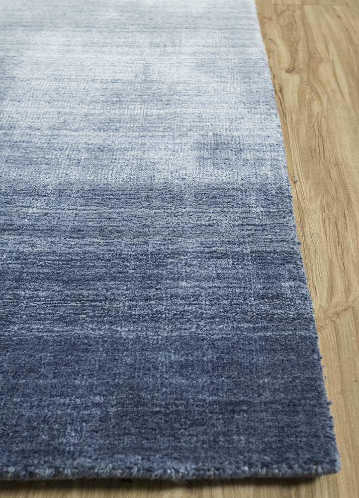 yasmin blue viscose hand loom Rug - Corner