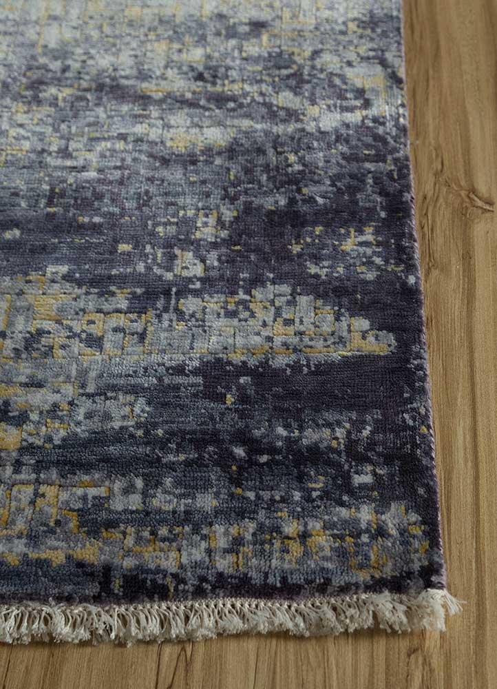 memoir grey and black bamboo silk hand knotted Rug - Corner