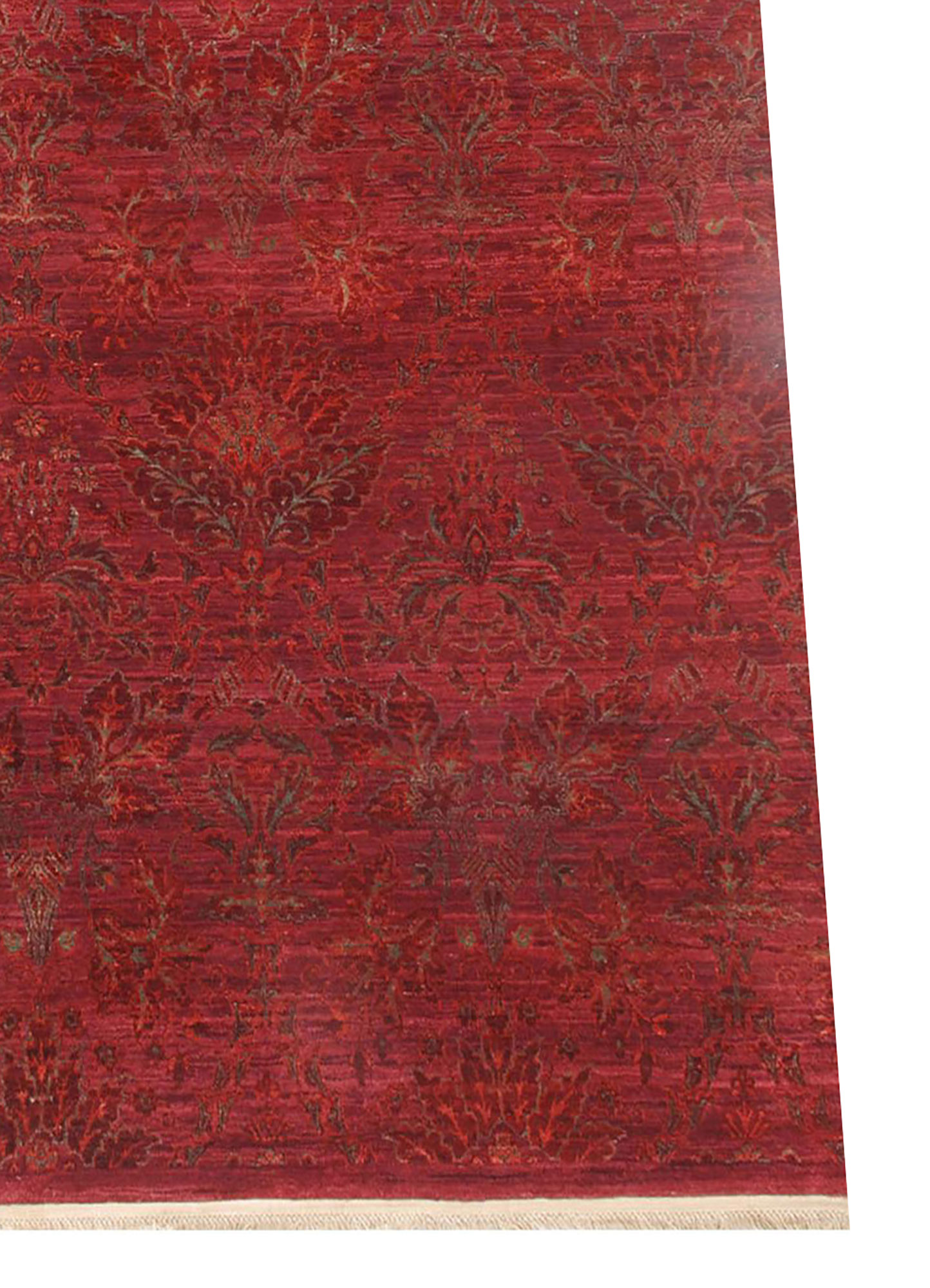 floret pink and purple wool and silk hand knotted Rug - Corner