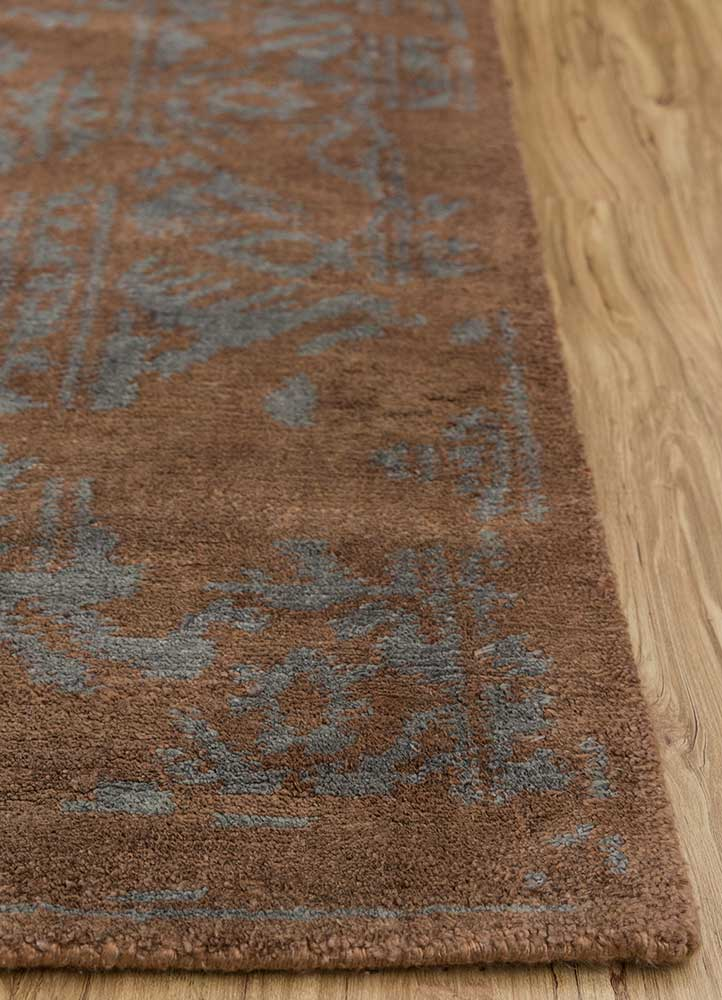 eden beige and brown wool and bamboo silk hand knotted Rug - Corner