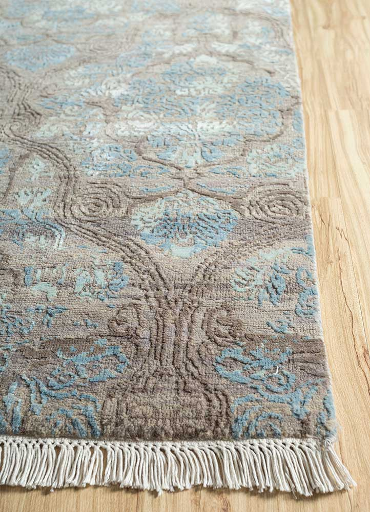 blithe beige and brown wool and bamboo silk hand knotted Rug - Corner