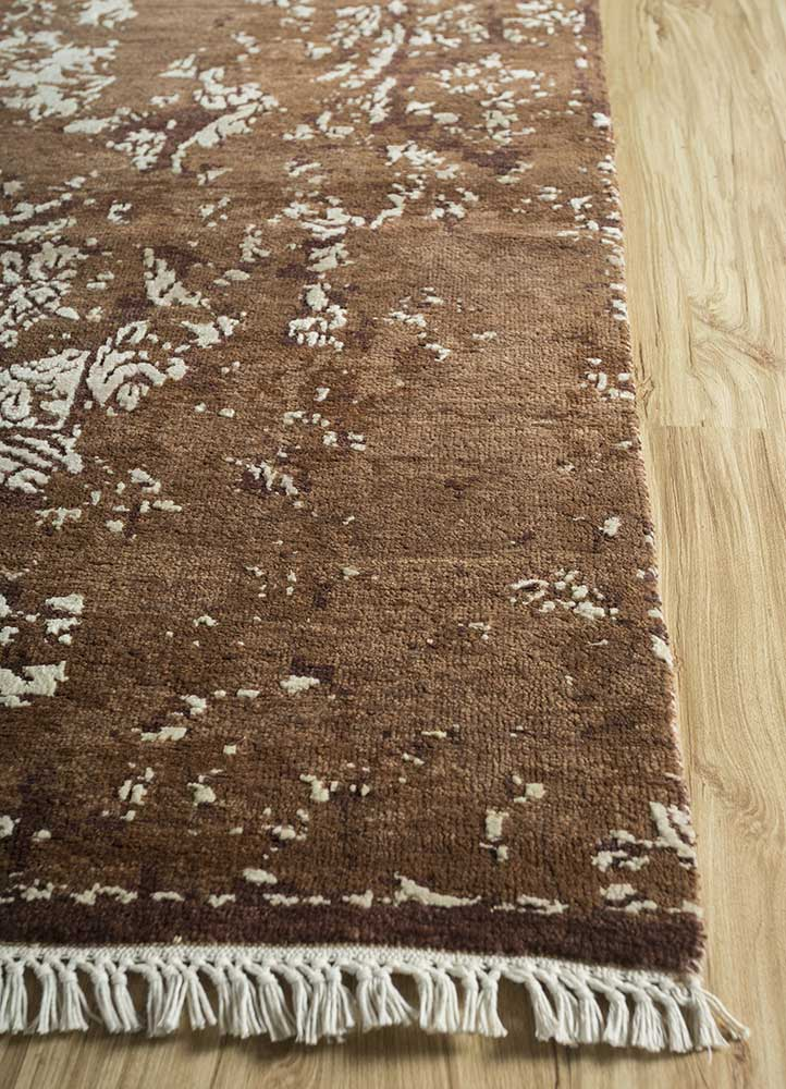far east beige and brown wool and bamboo silk hand knotted Rug - Corner
