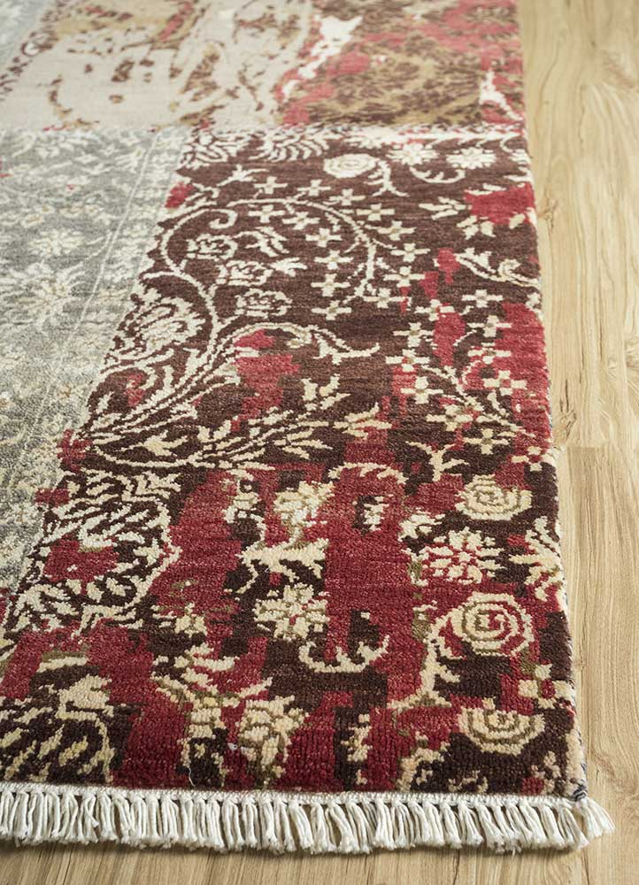 pansy red and orange wool and bamboo silk hand knotted Rug - Corner