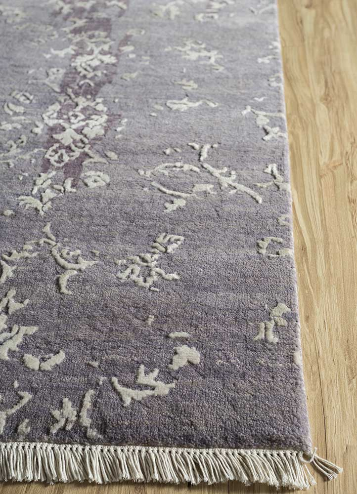 mezcla grey and black wool and bamboo silk hand knotted Rug - Corner