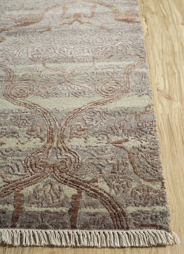 blithe grey and black wool and bamboo silk hand knotted Rug - Corner