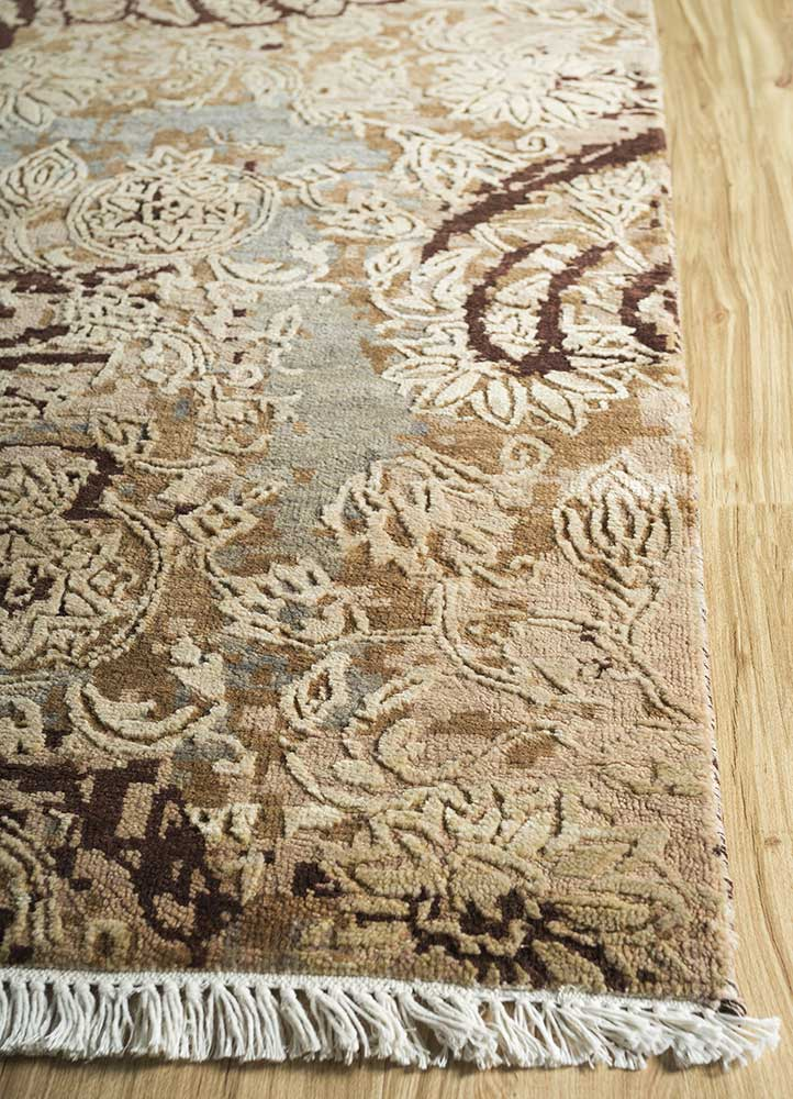 pansy beige and brown wool and bamboo silk hand knotted Rug - Corner