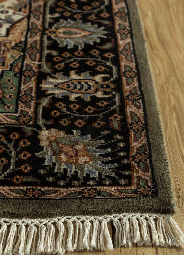 biscayne grey and black wool hand knotted Rug - Corner