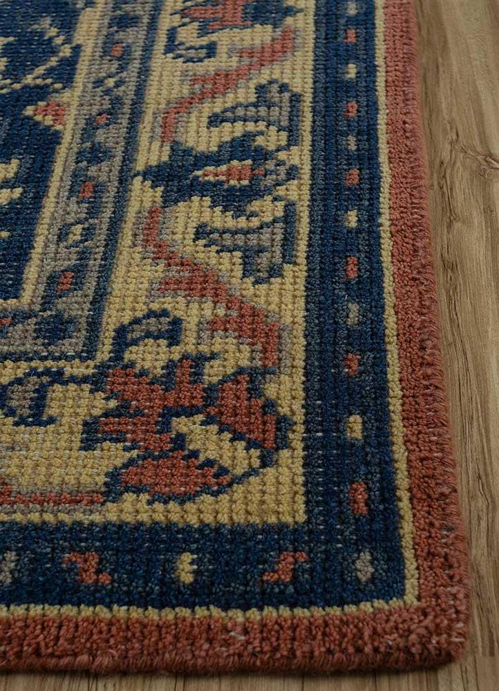 erbe blue wool hand knotted Rug - Corner