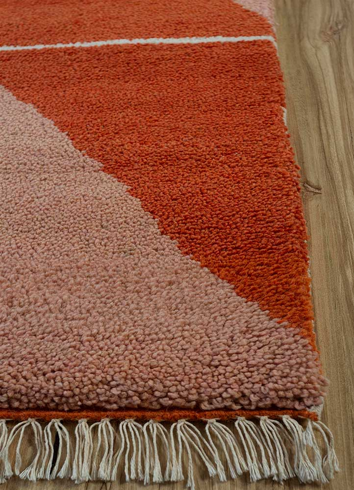 cleo red and orange wool hand knotted Rug - Corner
