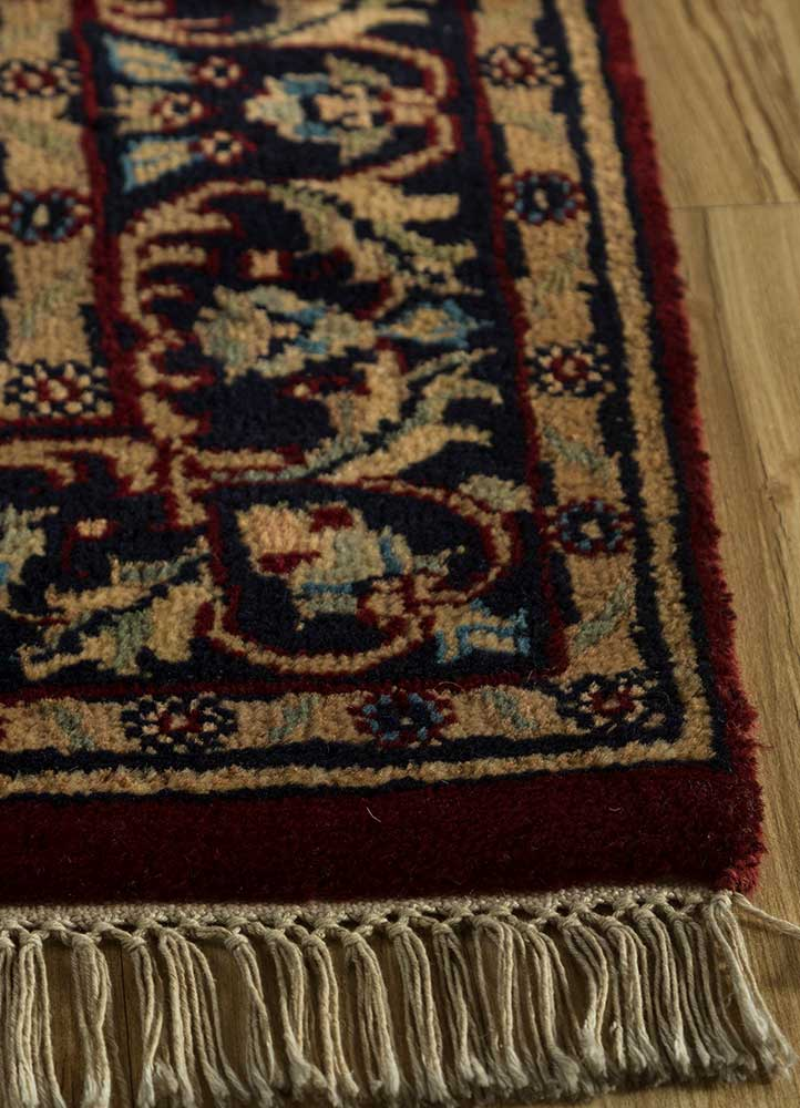 biscayne red and orange wool hand knotted Rug - Corner