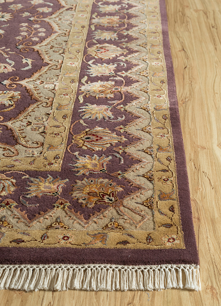aurora pink and purple wool and silk hand knotted Rug - Corner