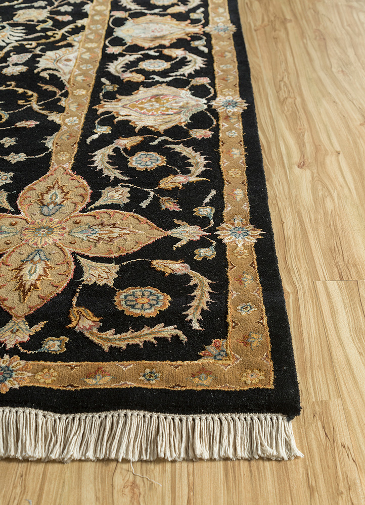 aurora grey and black wool and silk hand knotted Rug - Corner