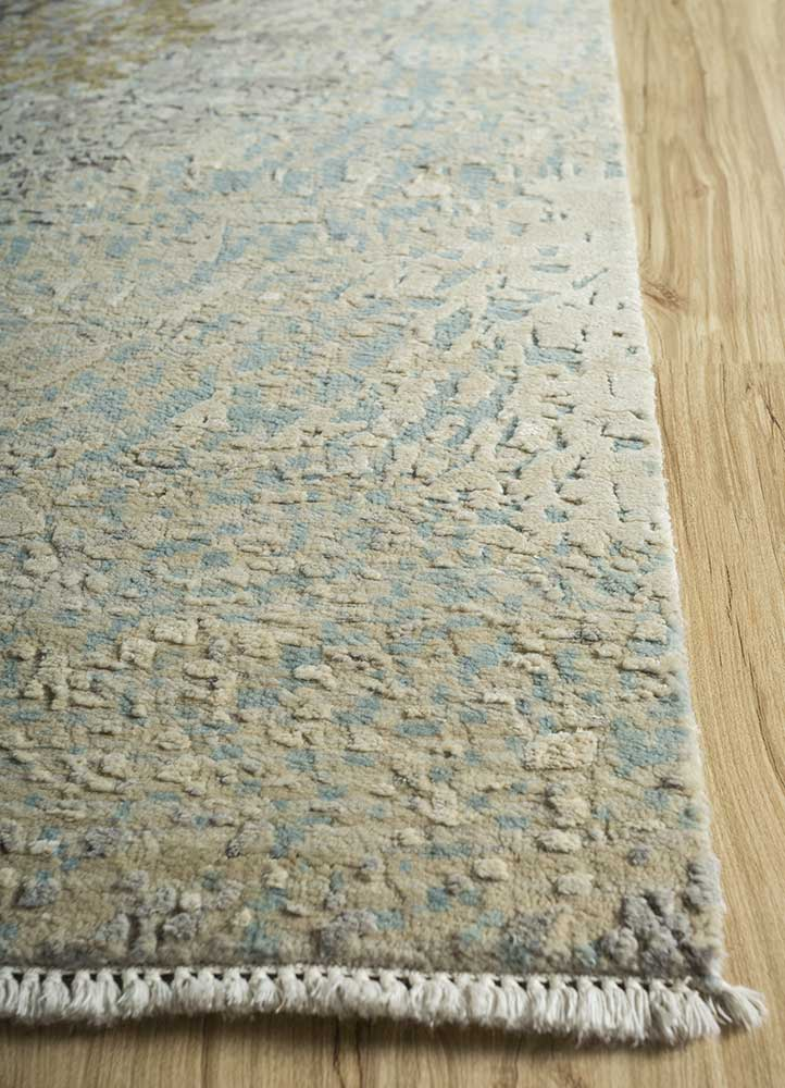 pansy grey and black wool and silk hand knotted Rug - Corner