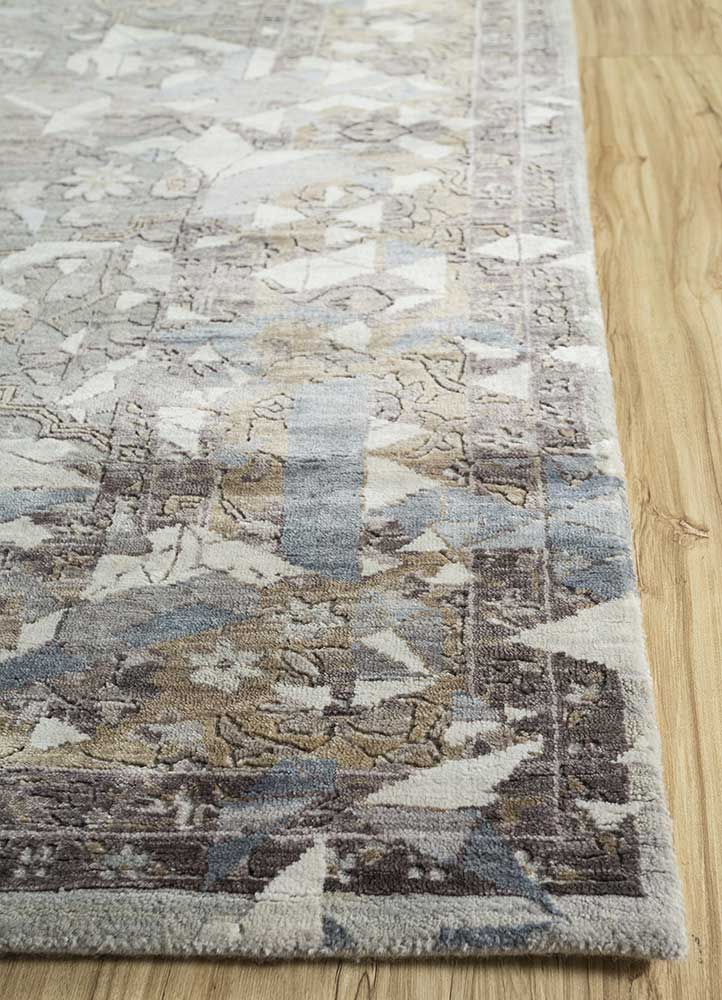 far east pink and purple wool and viscose hand knotted Rug - Corner