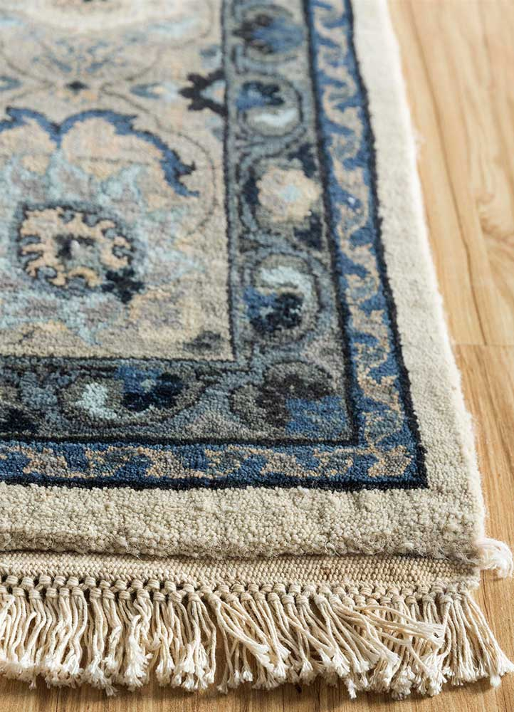biscayne ivory wool hand knotted Rug - Corner