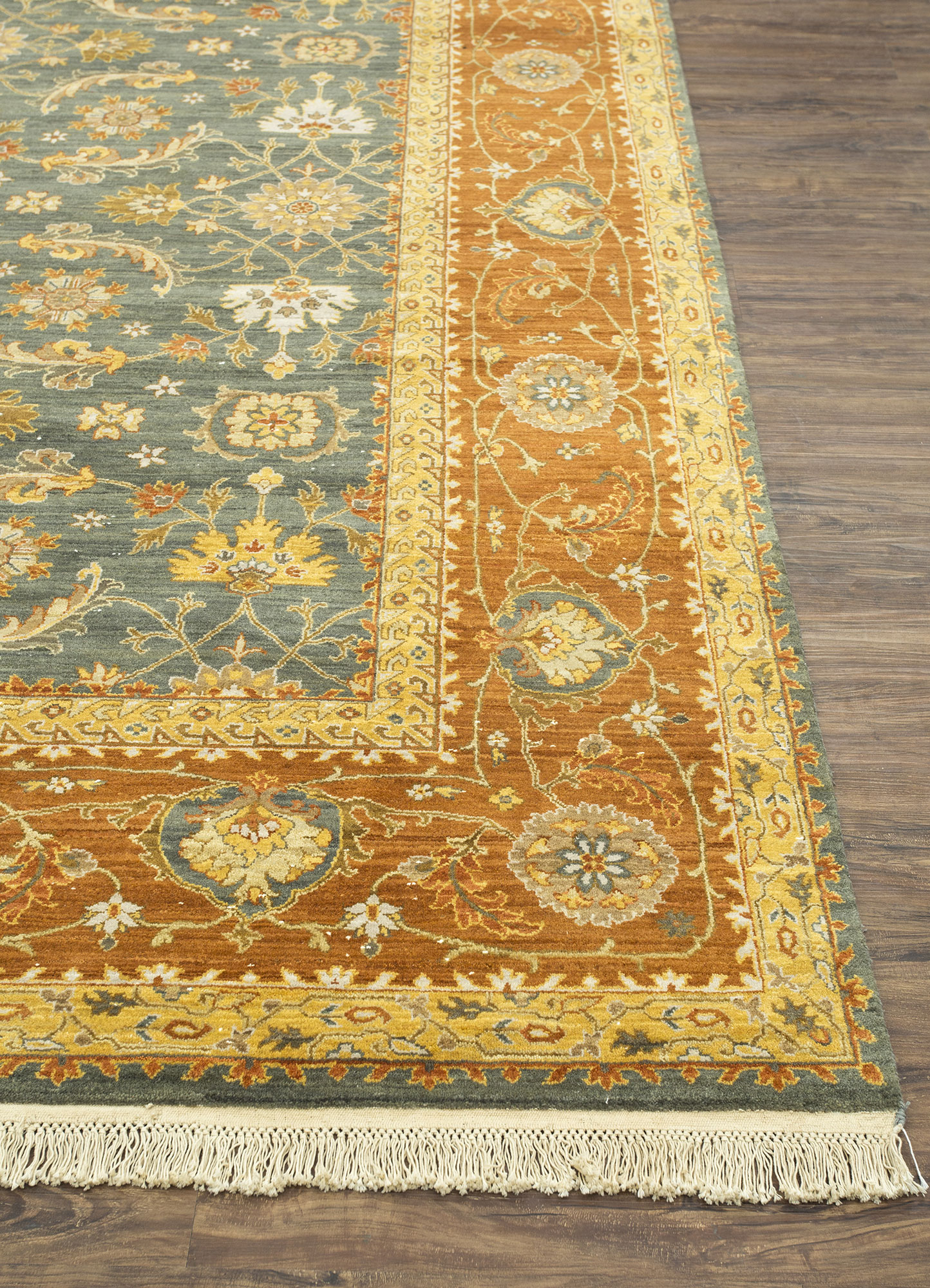 biscayne green wool hand knotted Rug - Corner