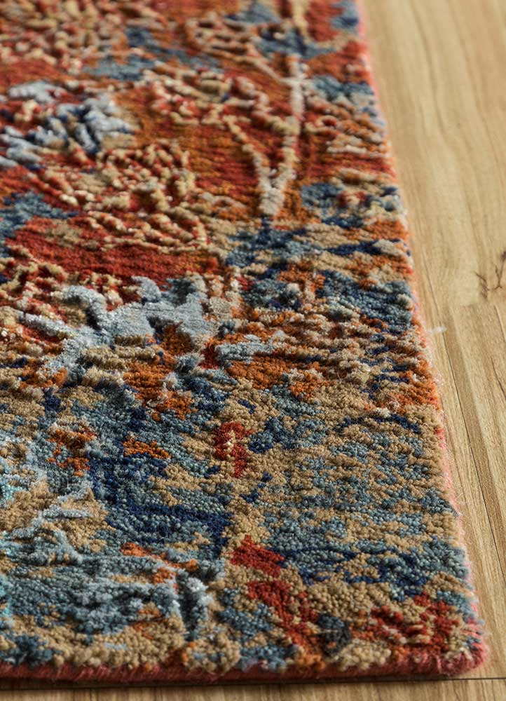 blithe red and orange wool and bamboo silk hand knotted Rug - Corner