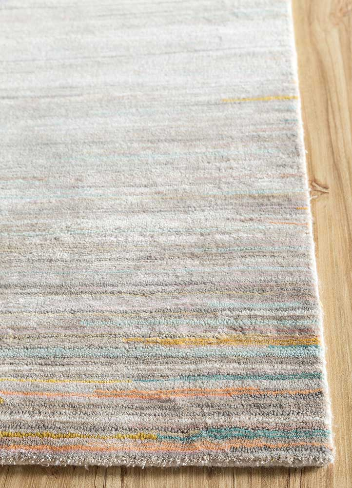 hidden by kavi ivory wool and bamboo silk hand knotted Rug - Corner