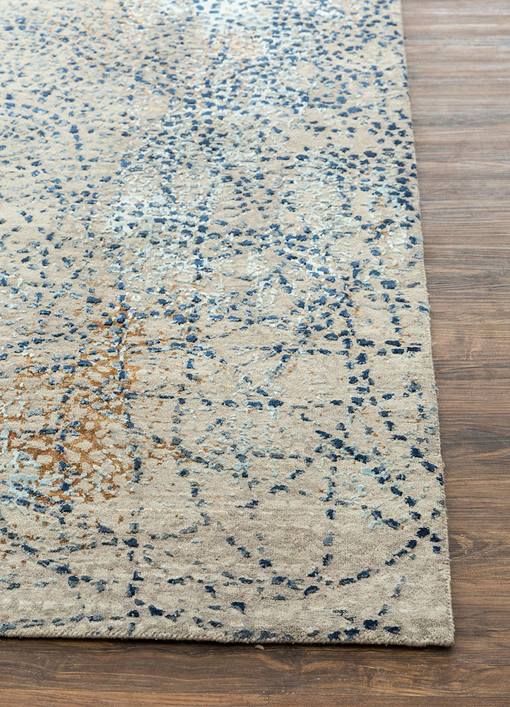 hidden by kavi grey and black wool and bamboo silk hand knotted Rug - Corner
