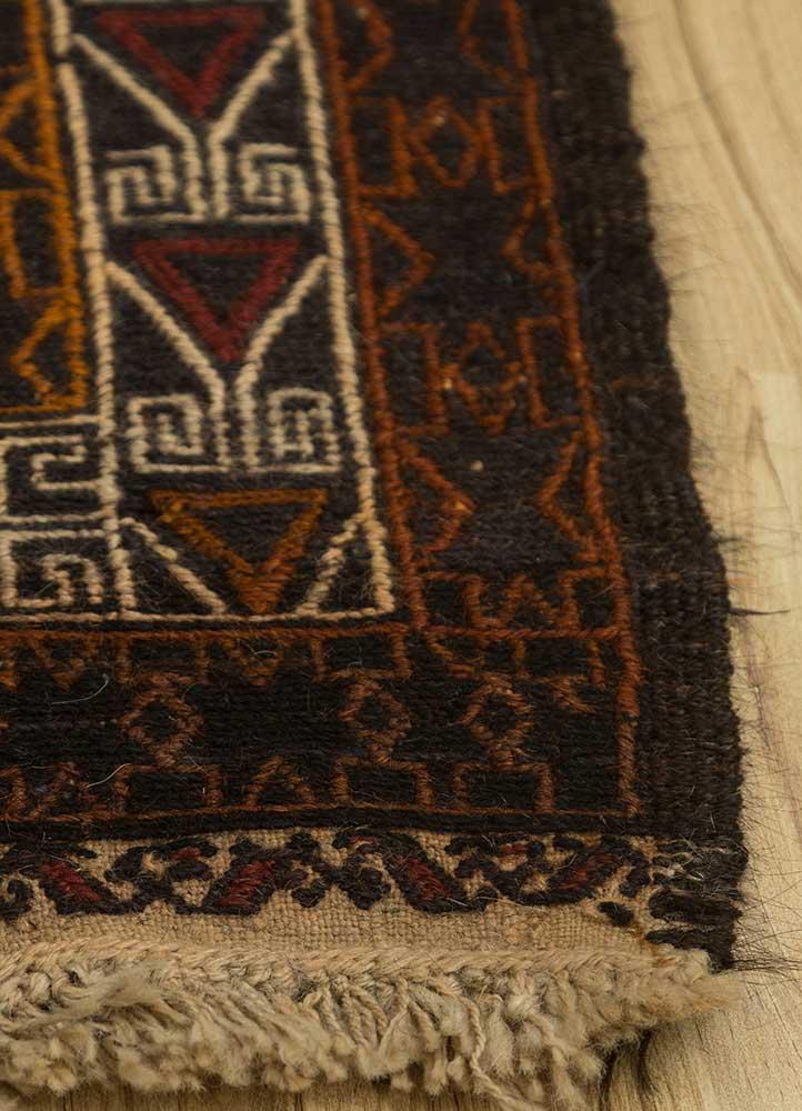 vintage grey and black wool hand knotted Rug - Corner