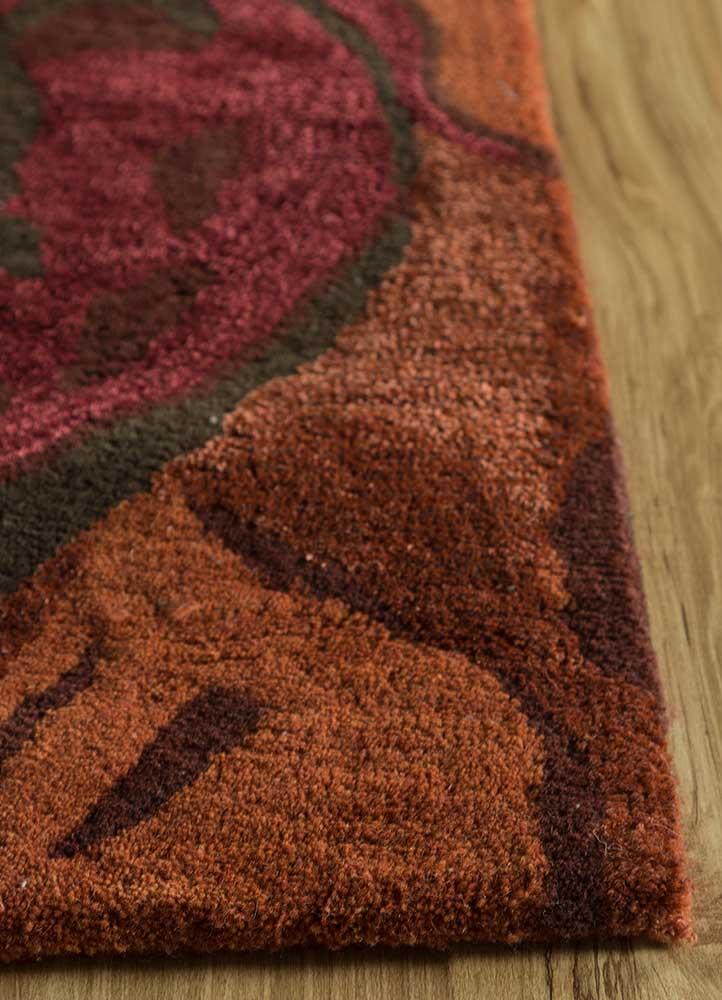 hacienda red and orange wool and viscose hand tufted Rug - Corner
