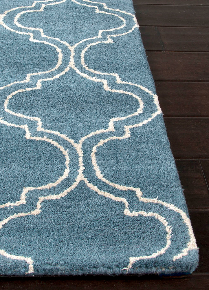 contour blue wool and viscose hand tufted Rug - Corner
