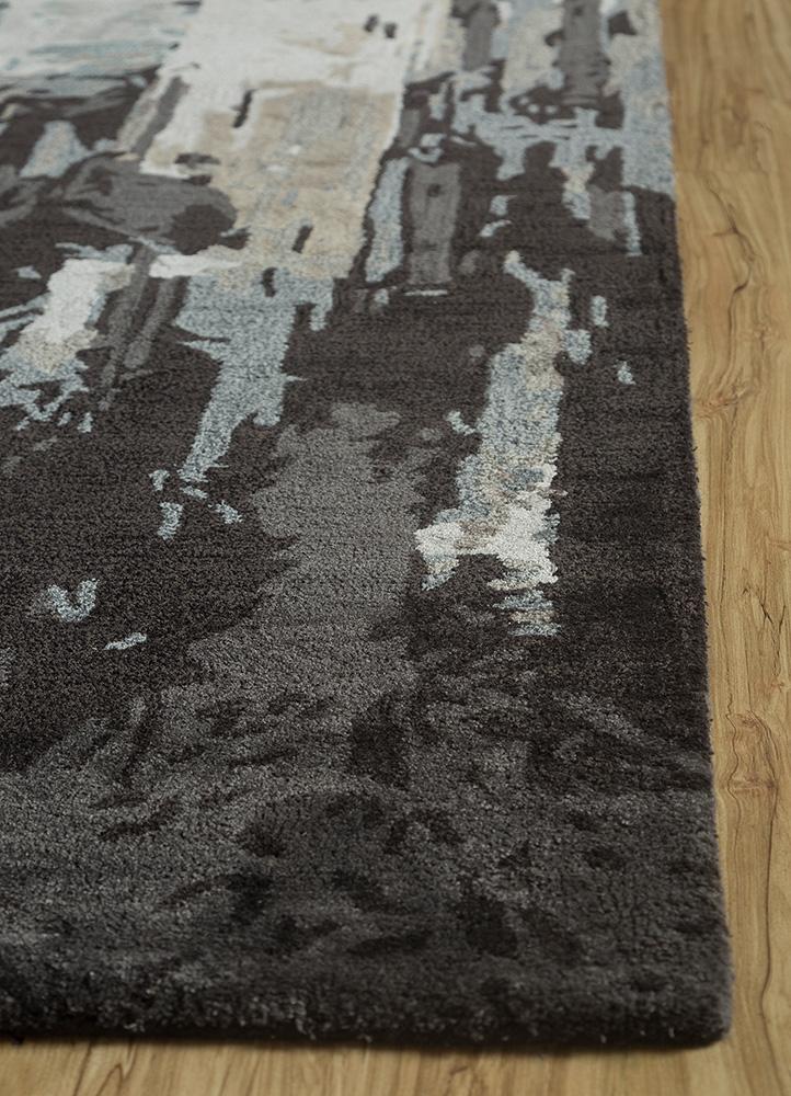genesis blue wool and viscose hand tufted Rug - Corner