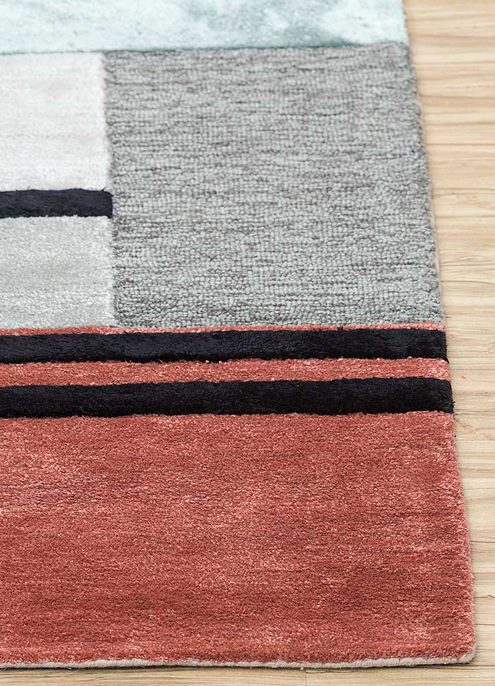 traverse red and orange wool and viscose hand tufted Rug - Corner